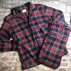 J.Crew large cotton plaid flannel pajama set